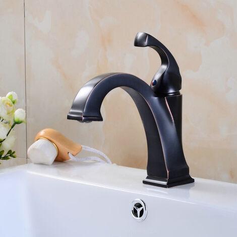 Robinet lavabo mitigeur style vintage en noir antique