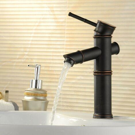 Robinet lavabo mitigeur style vintage sous forme de bambou