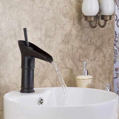 Robinet lavabo mitigeur traditionnel en noir antique