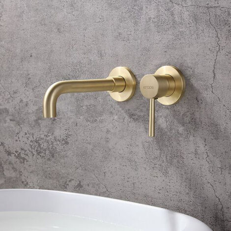 Robinet lavabo mural contemporain à poignée unique doré brossé