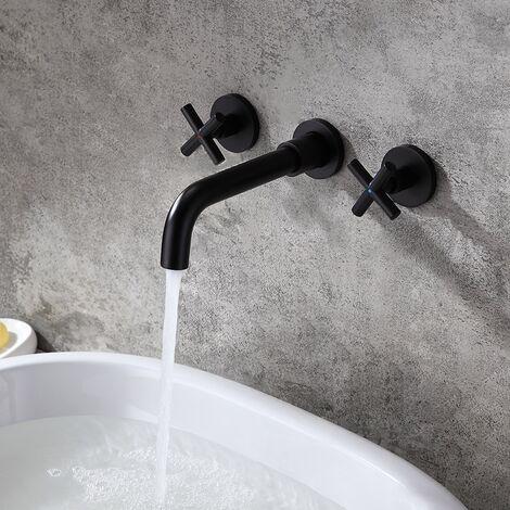 Robinet lavabo mural moderne à deux poignées en noir solide