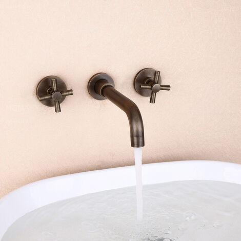 Robinet lavabo mural style rétro en bronze