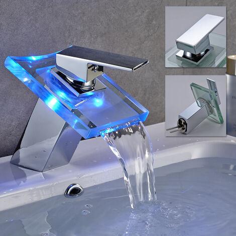 Robinet Lavabo Salle de Bain Cascade Affichage LED RGB Température de l'Eau Mitigeur Vasque à Poser en Laiton Chromé et Verre
