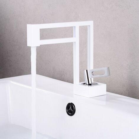 Robinet lavabo salle de bain design en laiton - Blanc & chromé