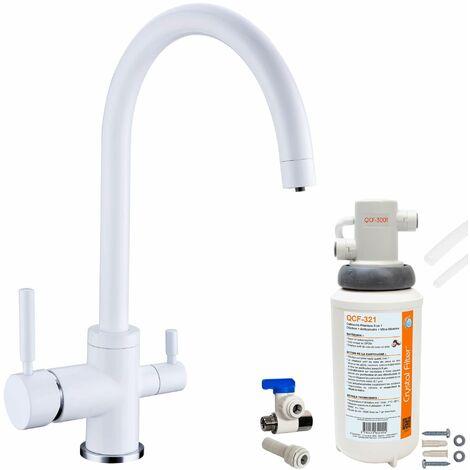Robinet mitigeur 3 voies Biscayne Blanc + Kit de filtration QCF-3001/321