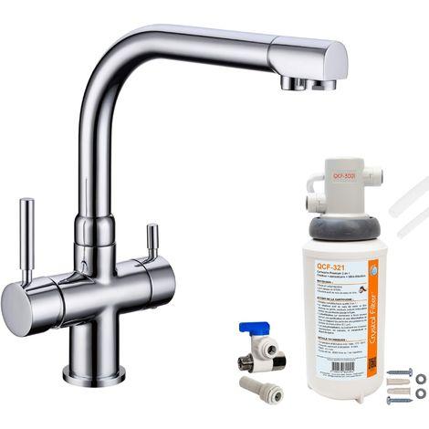 Robinet mitigeur 3 voies Denali Chrome + Kit de filtration QCF-3001/321