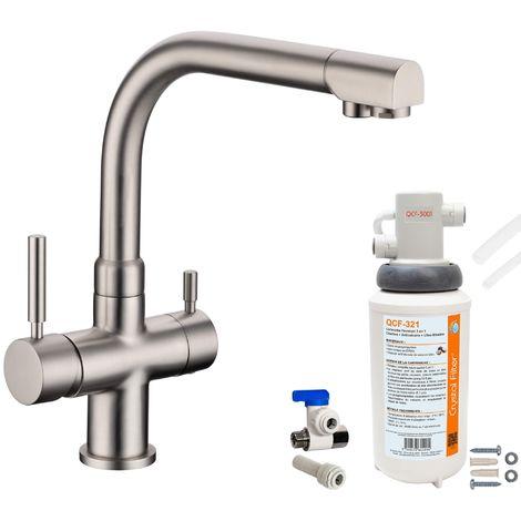 Robinet mitigeur 3 voies Denali Nickel brossé + Kit de filtration QCF-3001/321