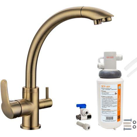 Robinet mitigeur 3 voies Everglades Bronze + Kit de filtration QCF-3001/321