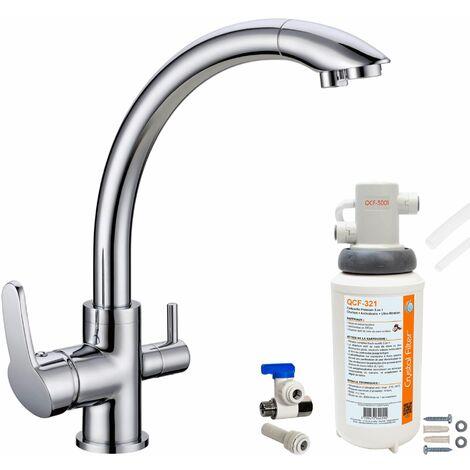 Robinet mitigeur 3 voies Everglades Chrome + Kit de filtration QCF-3001/321