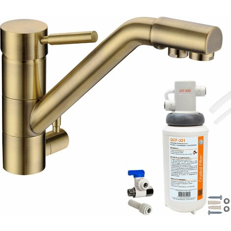 Robinet mitigeur 3 voies Samoa Bronze + Kit de filtration QCF-3001/321