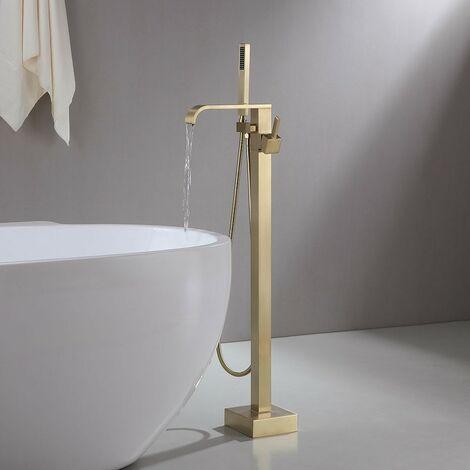 Robinet mitigeur de baignoire & douchette sur pied - Doré brossé