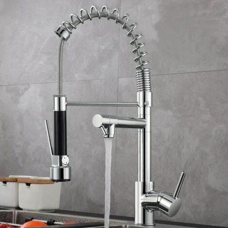 Robinet mitigeur de cuisine - Rabattable 360° - Avec douchette et flexibles d'alimentation