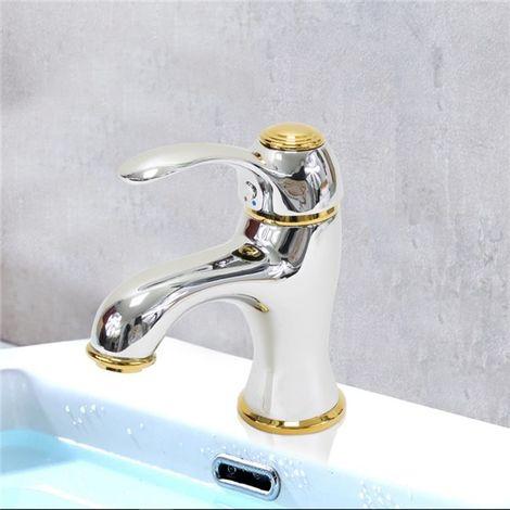 Robinet Mitigeur de lavabo chrome et or Design Retro doré