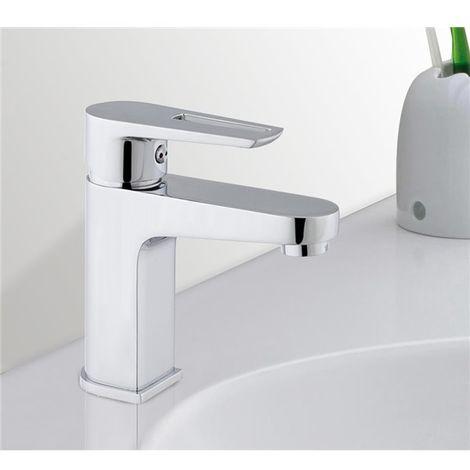 Robinet mitigeur de lavabo et vasque bec fixe en laiton chrome