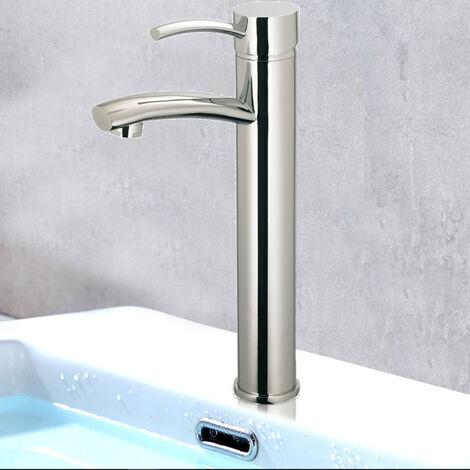 Robinet mitigeur de lavabo haut en laiton chrome vasque salle de bain