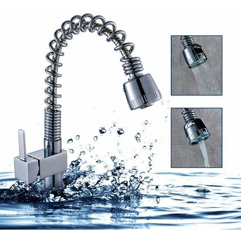 Robinet Mitigeur lavabo Bec forme U avec douchette extractible Rotatif 360°Robinetterie Évier