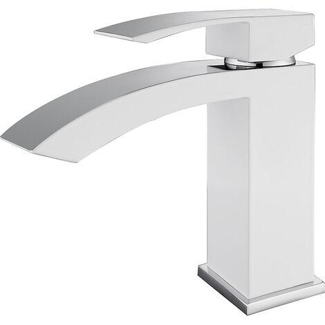 Robinet mitigeur lavabo Blanc & Chromé - Deneb