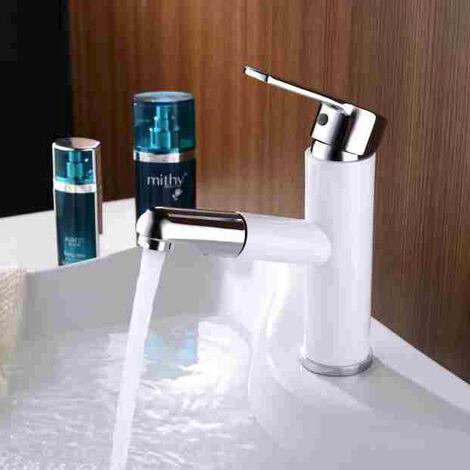 Robinet mitigeur lavabo Blanc Design Ligne fluide Bec court Droit avec douchette extractible