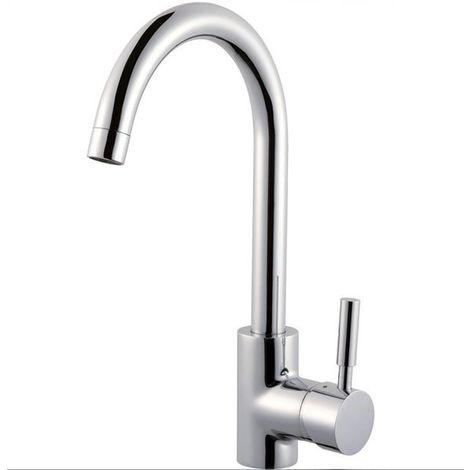Robinet mitigeur lavabo haut design laiton chrome butee economie eau