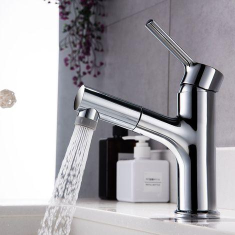 Robinet Mitigeur lavabo Monocommande avec douchette extractible 2 mode Robinet de cuisine Chromé Mitigeur Vasque à Poser Lave-main