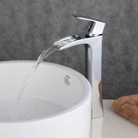 Robinet mitigeur lavabo surélevé Chromé Classique aux lignes courbes bec court et plongeant