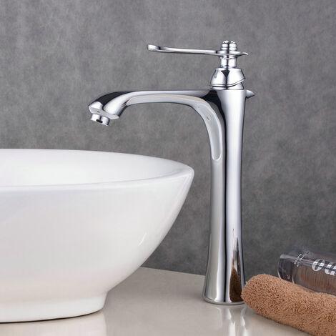Robinet mitigeur lavabo surélevé Chromé contemporain aux lignes courbes bec long et plongeant