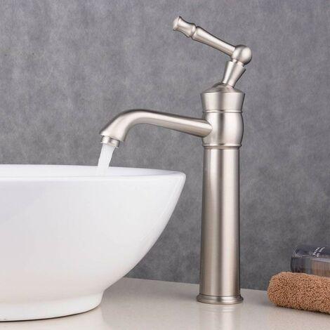 Robinet mitigeur lavabo surélevé Nickel brossé Antique, Rétro aux lignes courbes bec longueur moyenne et plongeant