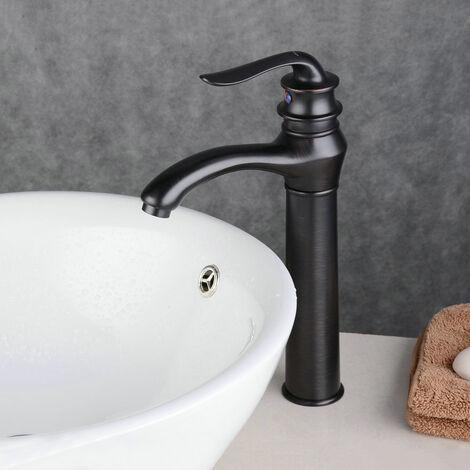 Robinet mitigeur lavabo surélevé Noir Antique, Rétro aux lignes courbes bec long et plongeant