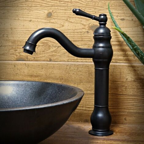 Robinet mitigeur lavabo surélevé Noir Retro aux lignes courbes bec court et plongeant