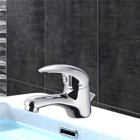 Robinet mitigeur lavabo vasque design bec bas laiton chrome vidage tirette