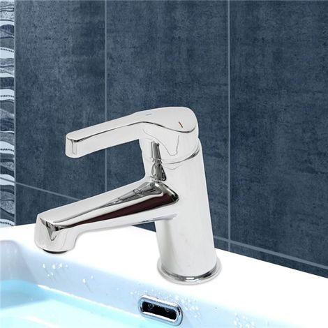 Robinet mitigeur lavabo vasque design laiton chrome butee economie eau