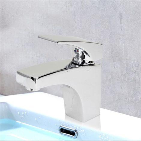 Robinet mitigeur lavabo vasque laiton chrome cartouche ceramique vidage tirette