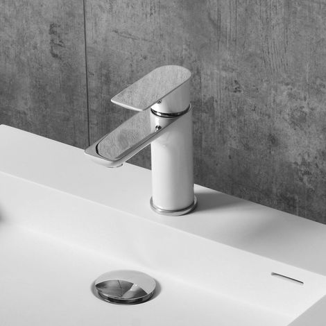 Robinet mitigeur pour vasque ou lavabo 4024CW chromé blanc