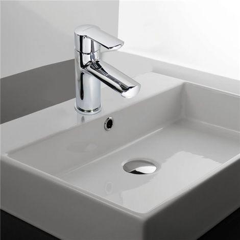 Robinet Mitigeur pour Vasque ou Lavabo en Laiton Chromé Cartouche céramique et Vidage
