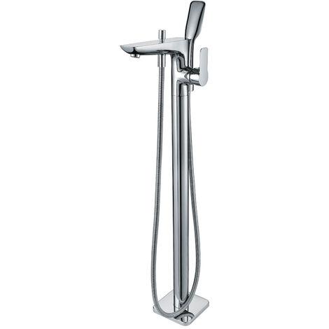 Robinet mitigeur salle de bain complet sur pied ilot avec douchette