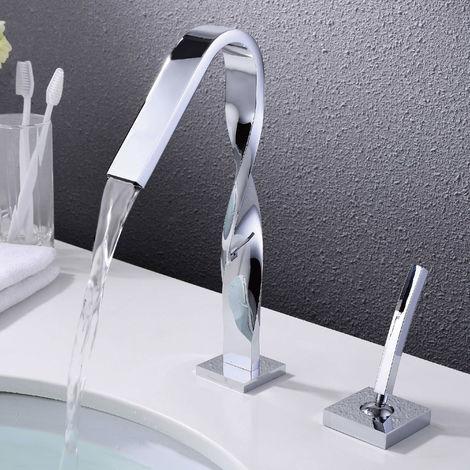 Robinet mitigeur torsadé finition chromé salle de bain