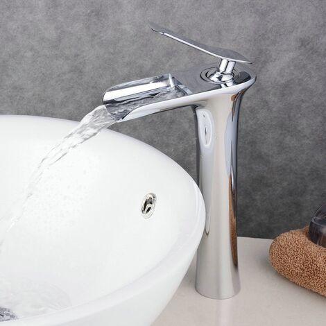 Robinet pour vasque Cascade Mitigeur Chromé En Laiton Carré Mono Levier de Commande surélevé