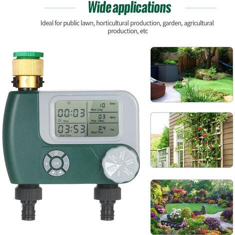 Robinet Programmable Flexible Minuterie Numerique Exterieur A Piles Systeme D'Arrosage Automatique Sprinkler Controleur D'Irrigation Avec 2 Outlet (Piles Non Incluses)
