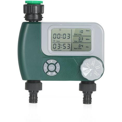 Robinet Programmable Flexible Minuterie Numerique Exterieur A Piles Systeme D'Arrosage Automatique Sprinkler Controleur D'Irrigation Avec 2 Outlet Pour Les Plantes De Jardin (Piles Non Incluses)
