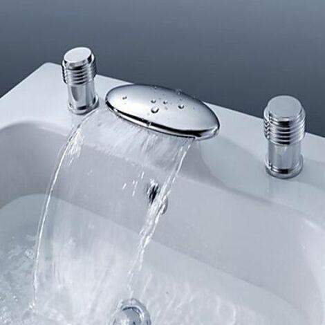 Robinet salle de bain à design élégant et moderne fini en métal chromé  (deux poignées)