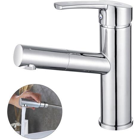 Robinet salle de bain avec douchette extractible chrom mitigeur lavabo en laiton robinetterie - Robinetterie laiton salle de bain ...