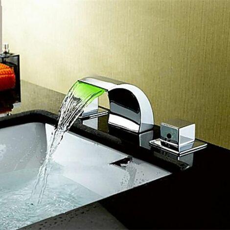 Robinet salle de bain cascade avec deux poignées, style contemporain et une finition en chrome