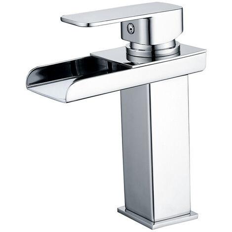 Robinet Salle de Bain Cascade Mitigeur de Lavabo pour L'eau Chaude et Froide Hauteur sous Bec 120mm Design Moderne