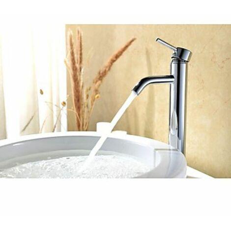 Robinet salle de bain chromé à une poignée pour un style contemporain