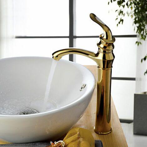 Robinet salle de bain dorée au ligne fine et élégante ...