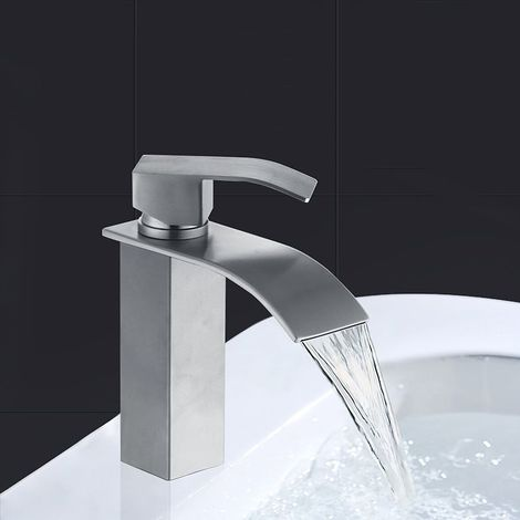 Robinet Salle de Bain Haut Bec Cascade Mitigeur de Lavabo en Laiton Robinetterie pour Vasque Chromé Design Moderne