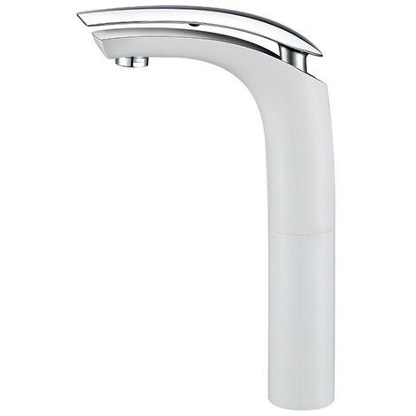 Robinet Salle de Bain Haut Mitigeur Blanc pour Vasque Design Moderne Blanc Monocommande Chromé