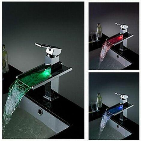 Robinet salle de bain LED avec bec verseur à changement de couleur finition en chrome