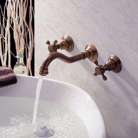 Robinet salle de bain mural à double poignée, robinet de ...