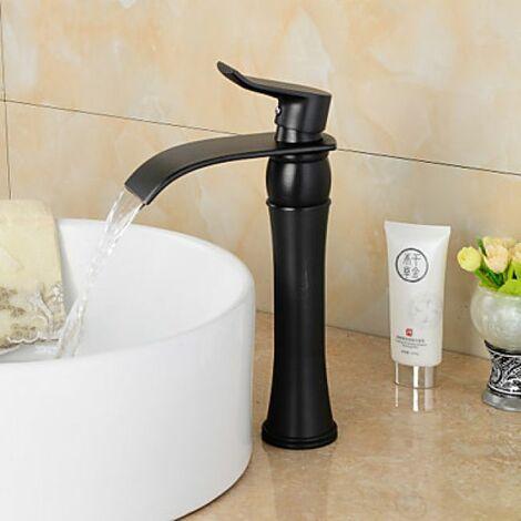 Robinet salle de bain noir à poignée unique, style contemporain finition en bronze huilé